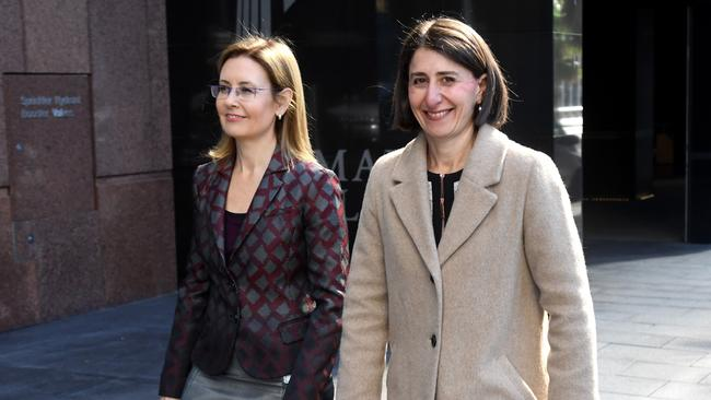 NSW Premier Gladys Berejiklian (right) and NSW Minister for Local Government Gabrielle Upton arriving at a press conference to discuss council amalgamations in July 2017. Picture: Paul Miller