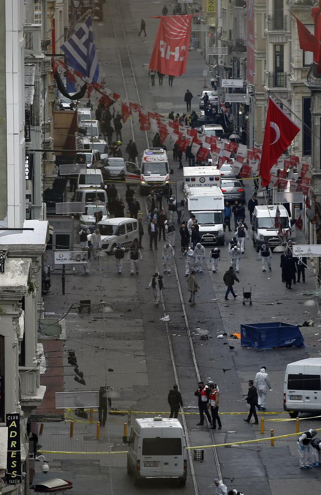 Emergency services at the scene of the explosion in one of Istanbul's main retail streets. Picture: AP/Emrah Gurel