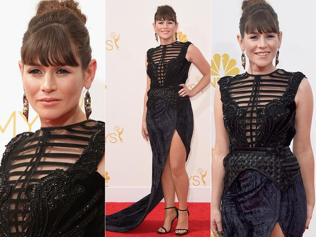 Australian star of Orange Is The New Black, Yael Stone, arrives at the 2014 Emmy Awards. Picture: Getty