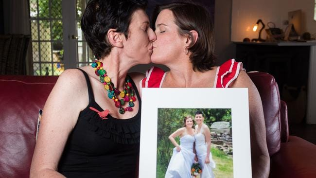 Gay people who married overseas, such as Alice Springs couple Caela and Kimberly Zeneth who wed in Canada, could now be looking for another ceremony closer to home. Picture: Emma Murray.