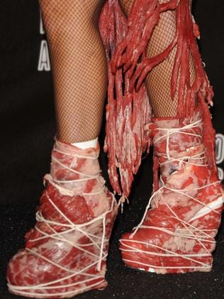 Gaga also had matching meat shoes.
