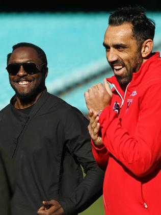 Having a laugh ... will.i.am with Swans star Adam Goodes. Picture: Tim Hunter