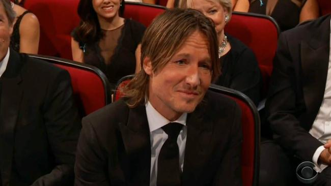 Keith Urban during Nicole Kidman's acceptance speech at the 2017 Emmys.