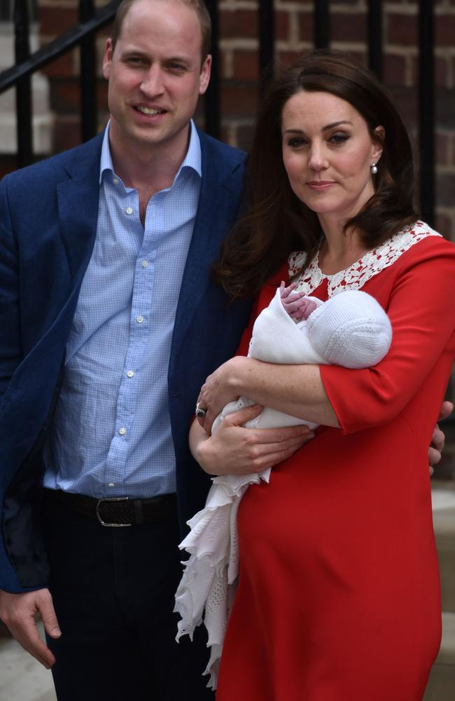 Prince William and Kate at the Lindo Wing on Monday with their new son. Picture: Phil Loftus/Capital Pictures
