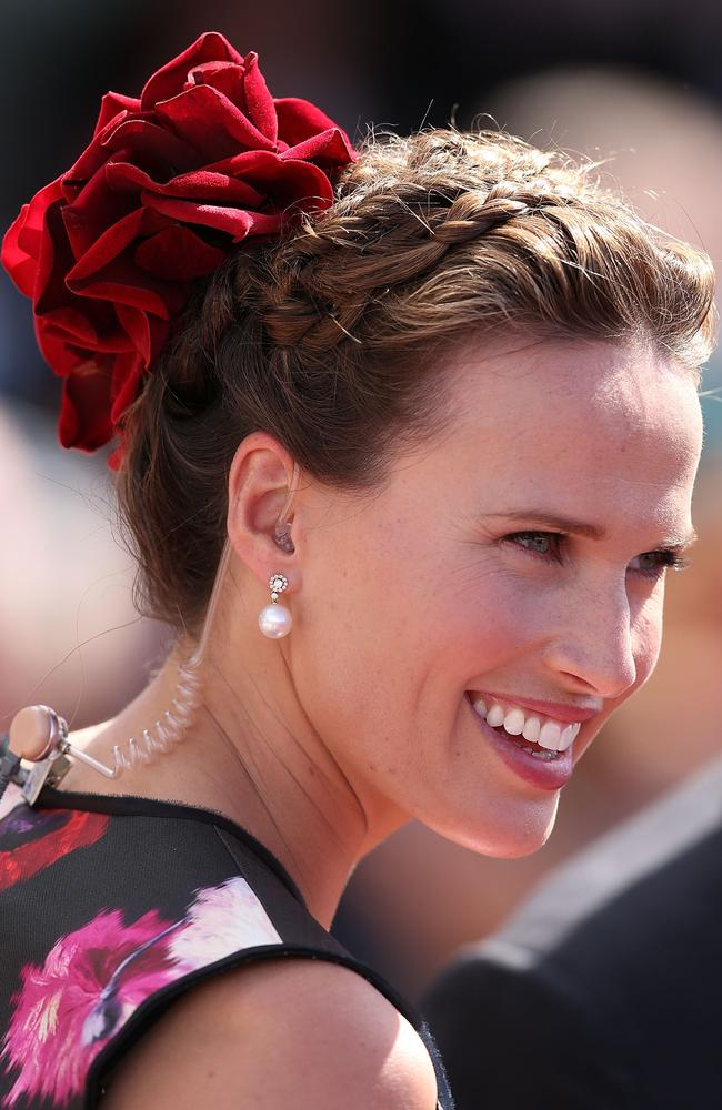 Francesca Cumani of Channel Seven looks ahead in the mounting yard on Melbourne Cup Day at Flemington Racecourse. Photo by Michael Dodge