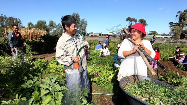 Kaw Doh Htoo and Ree Hta Say working in the community garden at Nhil Victoria where Karen refugees have been settled and are doing great work in the community.
