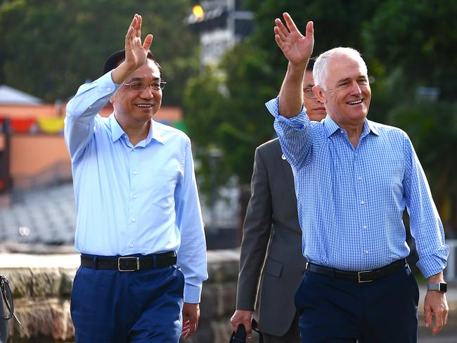 "Australia's Prime Minister Malcolm Turnbull, pictured with Chinese Premier Li Keqiang, has reportedly labelled China a ""frenemy"" of Australia at a public event in Sydney. Picture: AAP"