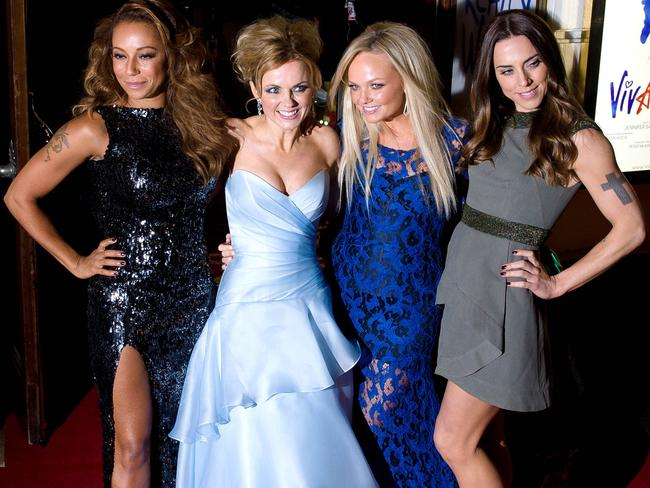 "L-R: Spice Girls Melanie Brown, Geri Halliwell, Emma Bunton and Melanie Chisholm pose at the premiere of the Spice Girls musical ""Viva Forever"" — sans Posh. Picture: Leon Neal"