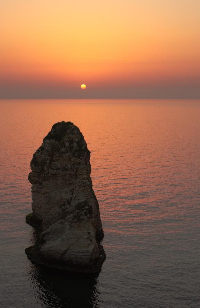 Sunset at Pigeon's rock in Beirut, Lebanon.