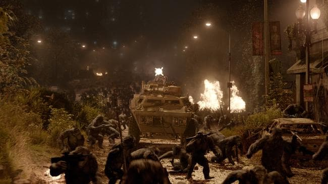 War zone ... a scene from Dawn Of the Planet of the Apes.