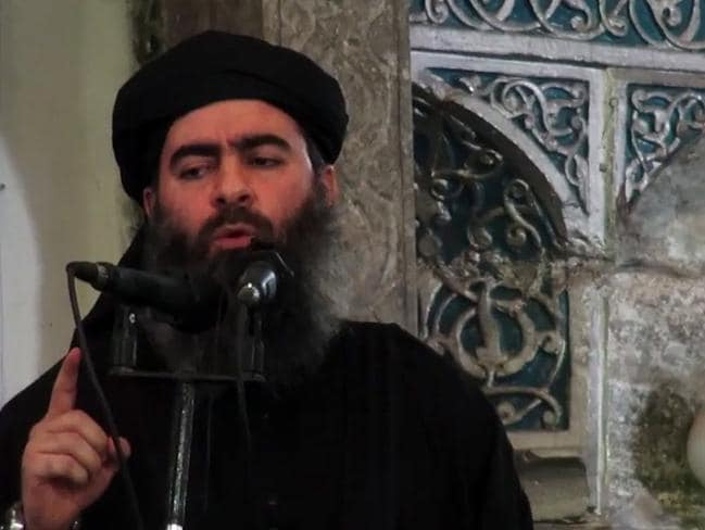 Injured ... Al-Baghdadi was also believed to have been injured in the airstikes. Picture: AFP/ Ho/ Al-Furqan Media