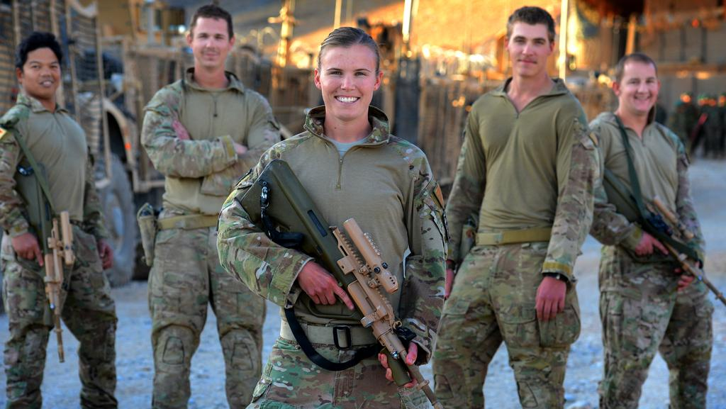 Australian Army Cook, Cpl Alex Shain with her colleagues in Afghanistan. (Pic: Supplied)