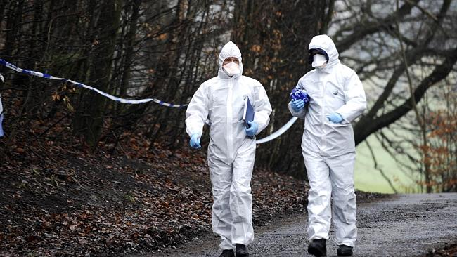 Forensic experts examine the woodland area where the child's body was found.