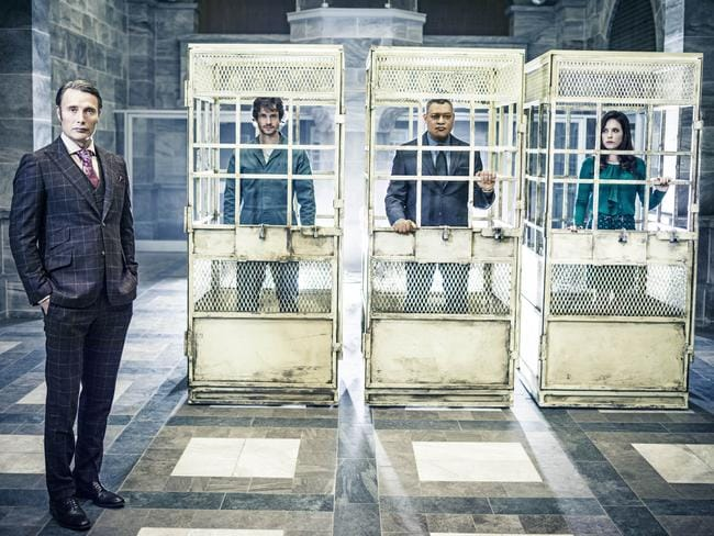 Mads Mikkelsen as Dr Hannibal Lecter, Hugh Dancy as Will Graham, Laurence Fishburne as Jack Crawford, and Caroline Dhavernas as Dr Alana Bloom from  <i>Hannibal</i>.