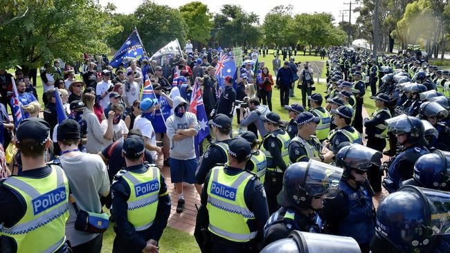 Police divide Anti-Islam protesters and Rally Against Racism protesters in Melton. Picture: Jason Edwards