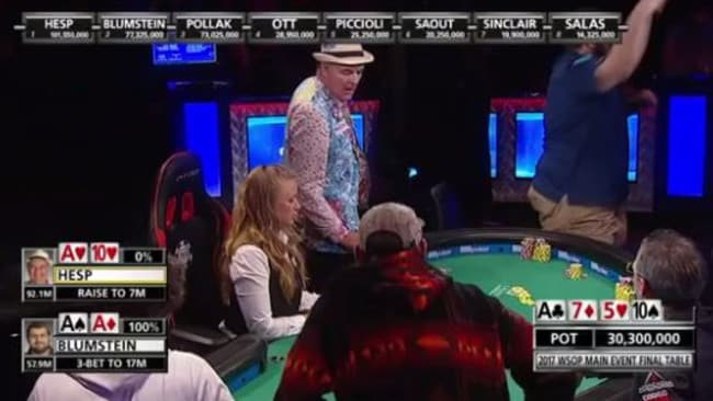 WSOP's 156m chip hand: Hesp reacts on the left, Blumstein goes off with joy. Image: ESPN