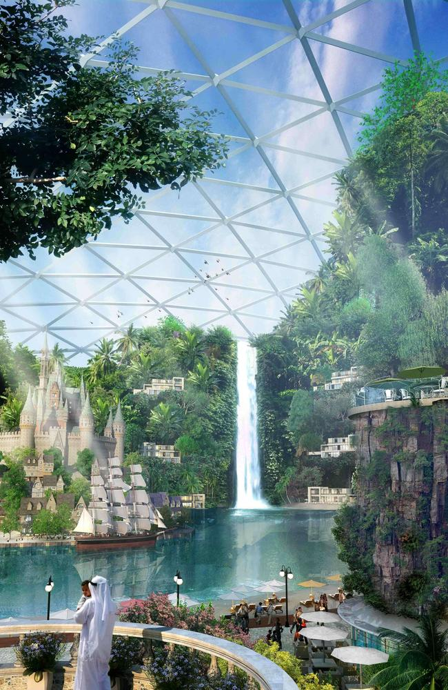 The temperature-controlled city will feature the world's largest mall and an indoor park, as well as hotels, health resorts and theatres. Picture: AFP