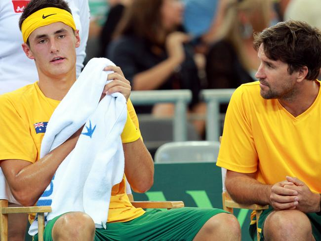 Davis Cup captain Pat Rafter (R) has expressed his exasperation at Bernard Tomic's attitude. Picture: Darren England.