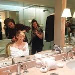 "Reese Witherspoon ... ""Countdown to the #GoldenGlobes #GlamSquad #Prep @hairbyadir @mollyrstern"" Picture: Instagram"