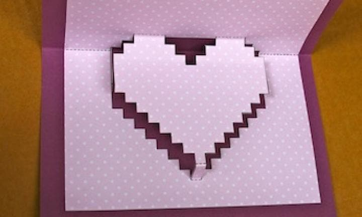 Make a pixelated pop-up heart card