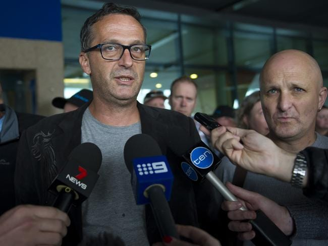 Abuse survivor victims: David Ridsdale, and Andrew Collins, speak to the press at Rome Airport. Picture: David Mirzoeff