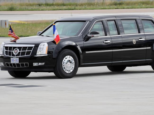 US President Donald Trump's car became separated from the tail end of the motorcade in France. Picture: AFP PHOTO / Thomas SAMSON