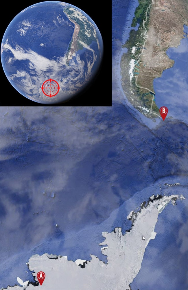 The location of the Pine Island and Thwaites glaciers (A) in western Antarctica in relation to Cape Horn, South America (B). The fate of just these two glaciers will determine the extent — and speed — of rising sea levels. Picture: Google Maps