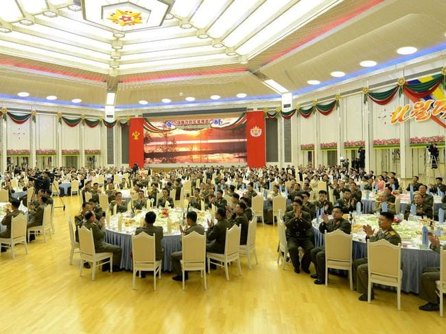 Scientists in the field of national defence attend a reception hosted by the Central Committee of the Workers' Party of Korea in Pyongyang. Picture: KCNA/AFP