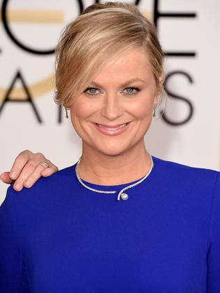 Royal blue ... Globes co-host Amy Poehler. Picture; Getty Images