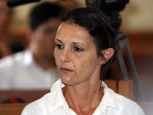Australian woman Sara Connor during her trial at Denpasar court in Denpasar on Monday March 13, 2017. Connor is facing sentencing over the murder of a Bali police officer. Her boyfriend, British man David Taylor, has been jailed for six years for the crime. (AAP Image/Roni Bintang) NO ARCHIVING