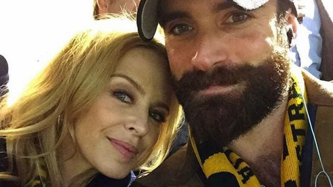 Beard game strong ... Kylie and Joshua Sasse at the Rugby World Cup in the UK.