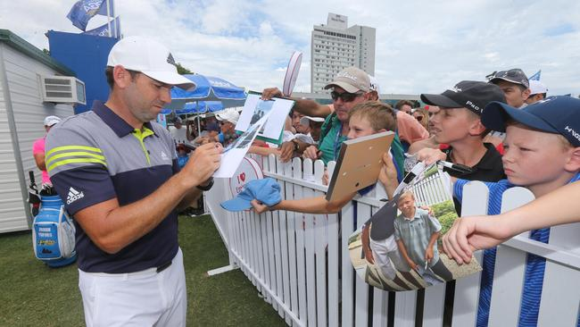 Sergio Garcia signing autographs at Royal Pines. Picture: Mike Batterham