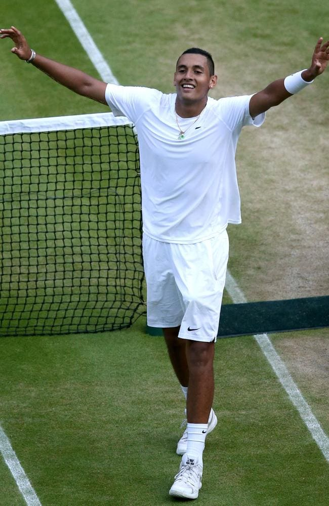 Australia's Nick Kyrgios celebrates his stunning win over Rafael Nadal.