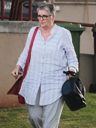 Controversial Sunshine Coast magistrate Bernadette Callaghan leaves court.