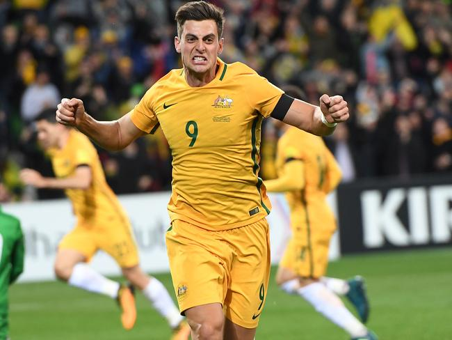 Tomi Juric celebrates giving the Socceroos the lead.