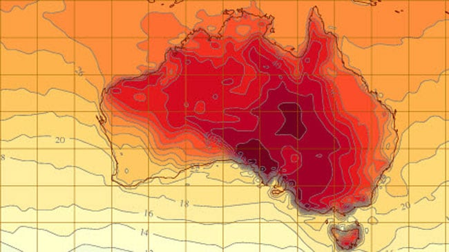 This forecast map shows temperatures set to get close to 50degrees in some parts of the interior on Friday, january 4. Image: Australian Bureau of Meteorolgy