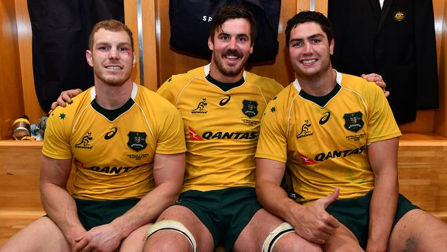 (L-R) David Pocock, Kane Douglas and Rob Simmons will all start for the Wallabies at Twickenham.