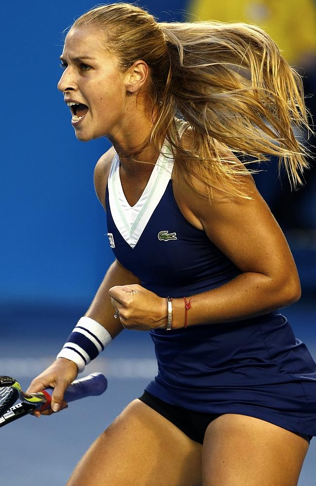 Dominika Cibulkova holds serve in the first. Picture: Michael Klein
