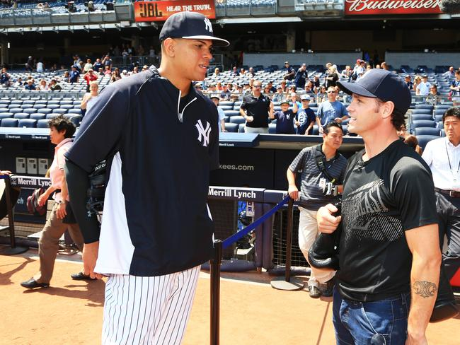 Daniel Geale chats with New York Yankee pitcher Delin Betances as he counts down to his Sunday bout. Picture: Adam Taylor