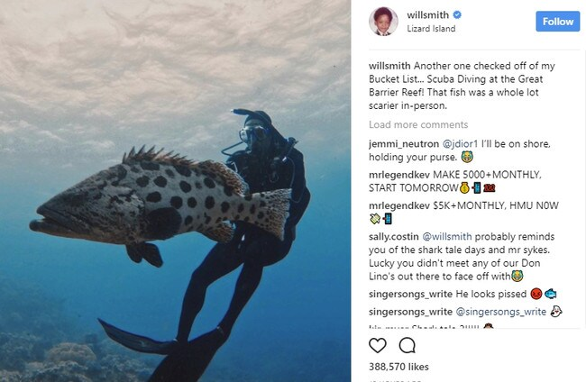 Will Smith's encounter with a Far North Queensland cod has caused a stir on social media.