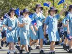 Schoolgirls marching at the Caloundra Anzac Day Parade. Picture: Lachie Millard