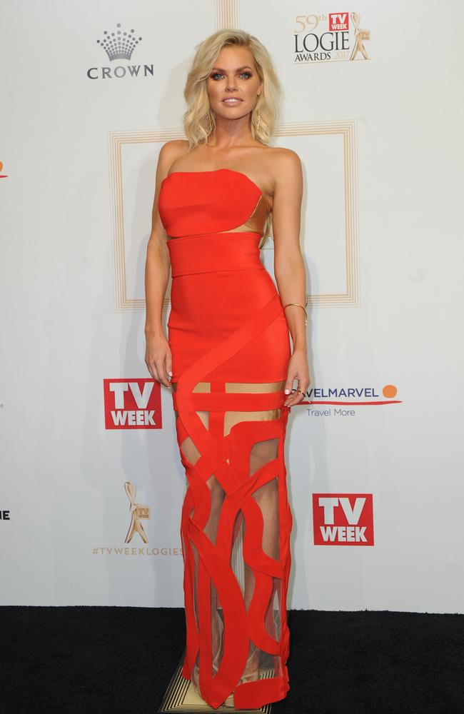 Sophie Monk arrives at the 2017 Logie Awards.