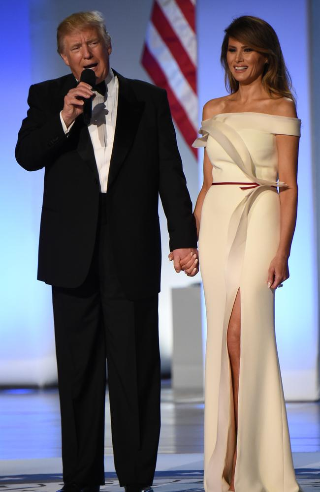 first lady melania trump wore a dress by french american designer herv pierre to the inaugural ball picture afp