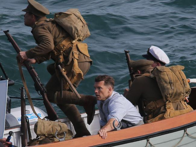 Sam Worthington films a scene from Deadline Gallipoli, at Port Noarlunga. Picture: Dylan Coker