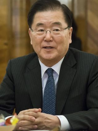South Korean head of National Security Chung Eui-yong. Picture: AP