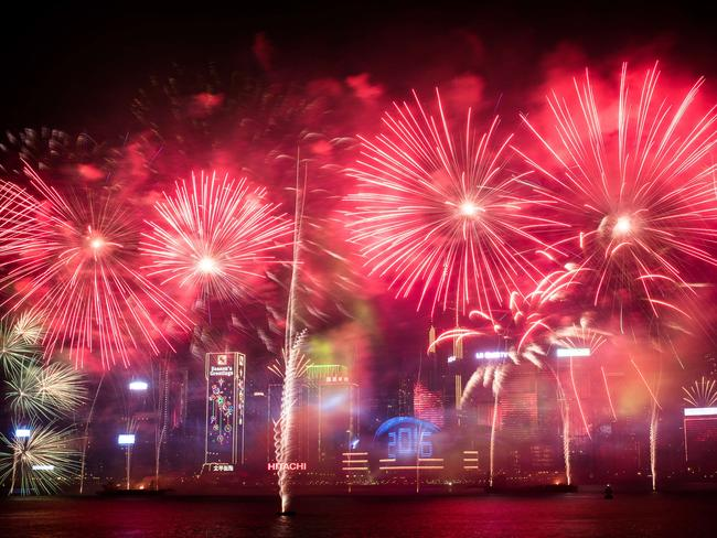 Gorgeous show ... Hong Kong put on an impressive fireworks display. Picture: AFP/Philippe Lopez
