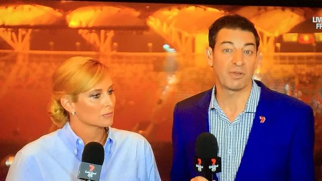 Voting with their feet: A sea of empty seats behind Johanna Griggs and Basil Zempilas as the controversial Games closing ceremony ended. Picture: Channel 7