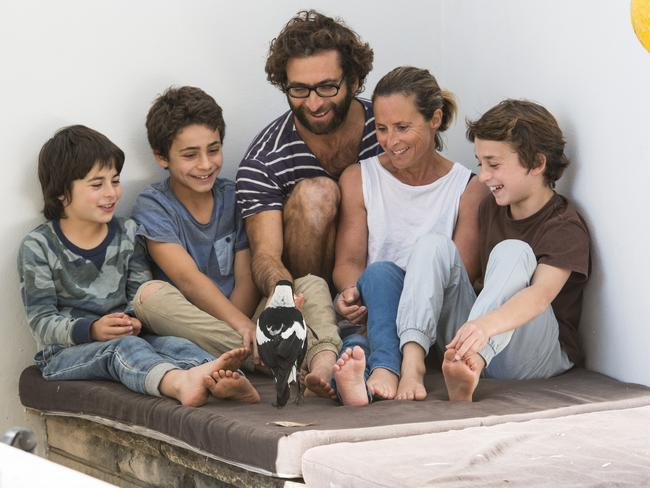 A trip to Thailand would change the Bloom family forever. From left Oliver, Rueben, Cameron, Sam and Noah. Picture: Cameron Bloom from the book Penguin Bloom: the Odd Little Bird who Saved a Family