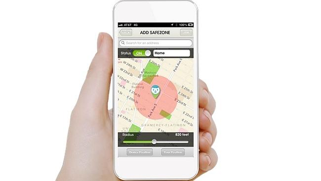 Parents can set their own 'SafeZone' radius on a map. The app will alert parents when their child has left or entered this zone. Source: supplied
