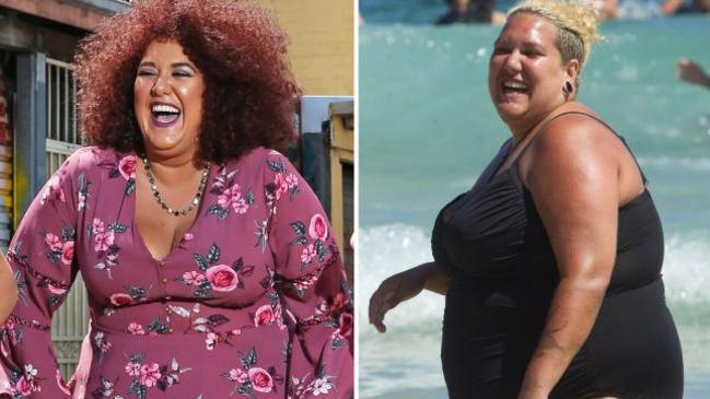 Casey Donovan, after embarking on her weight loss journey (left) and before (right).Source: News Corp Australia